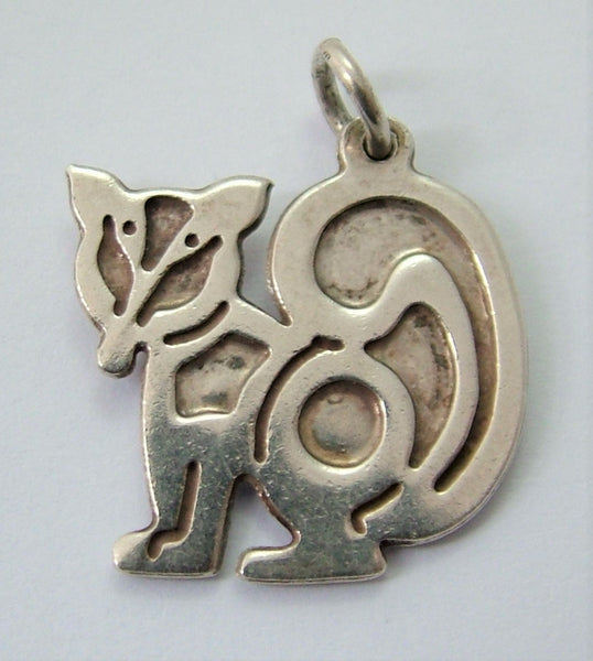 Vintage 1970's Solid Silver Stylised Fox Charm