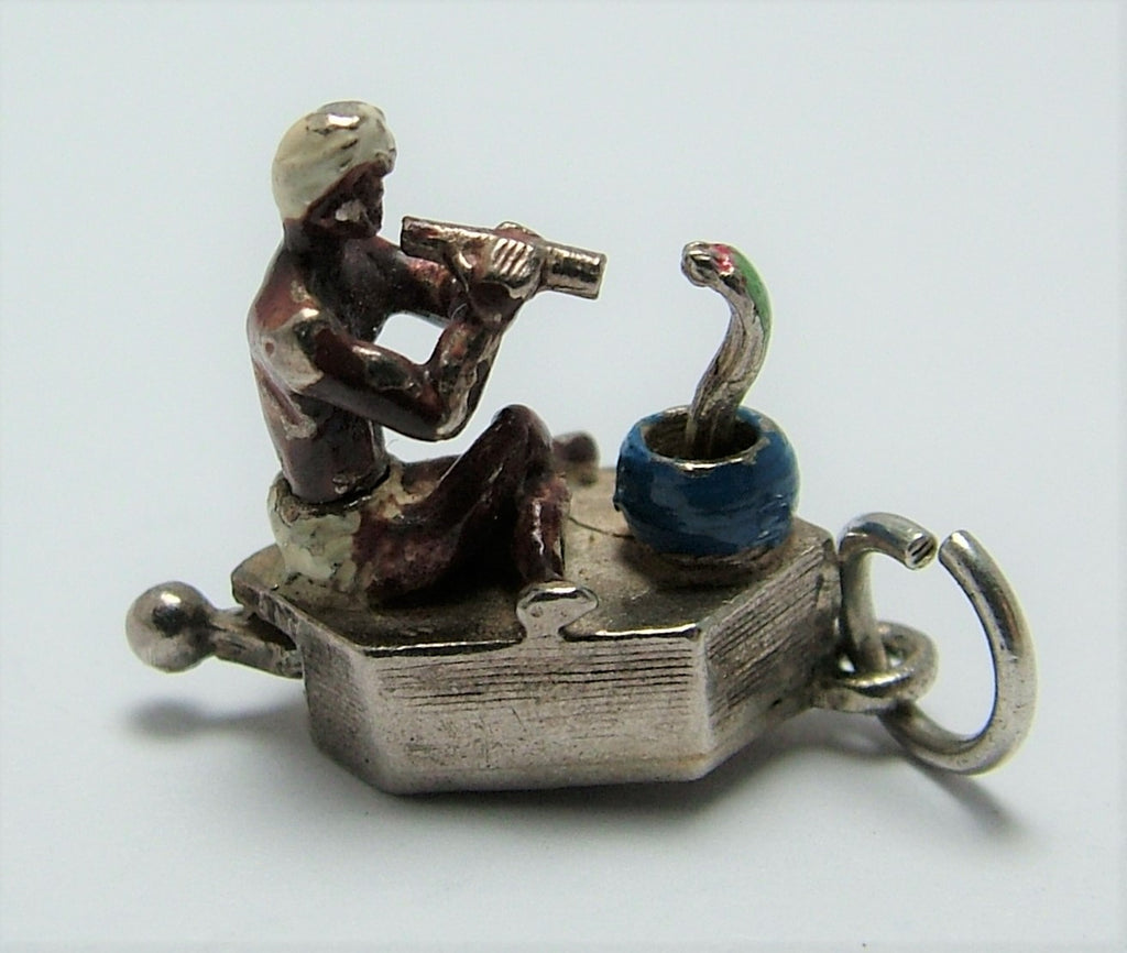 Vintage 1950's/60's Silver Moving Charm - Enamel Painted Snake Charmer and Cobra Silver Charm - Sandy's Vintage Charms