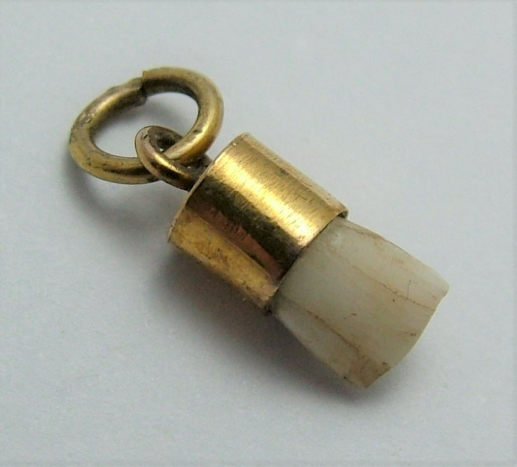 Small Antique Victorian 9ct Gold Mounted Baby Tooth Charm