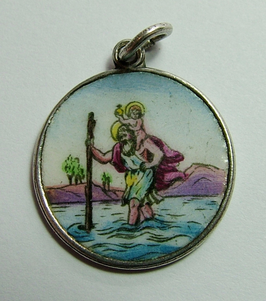 1920's/30's Silver & Enamel St Christopher Charm Enamel Charm - Sandy's Vintage Charms