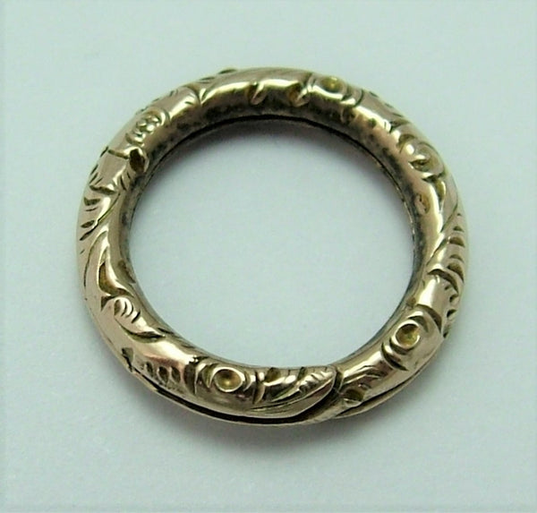 Antique Victorian Solid 9ct Gold Patterned Split Ring for Fobs & Charms 12mm Antique Charm - Sandy's Vintage Charms