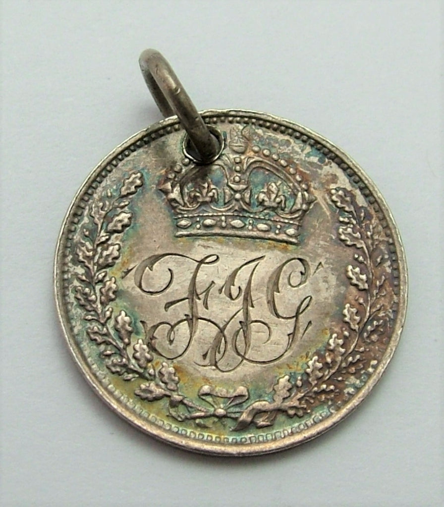 Antique Victorian Silver Engraved Love Token Coin Charm FJG Love Token - Sandy's Vintage Charms