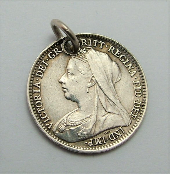 Antique Victorian Silver Engraved Love Token Coin Charm GWB Love Token - Sandy's Vintage Charms
