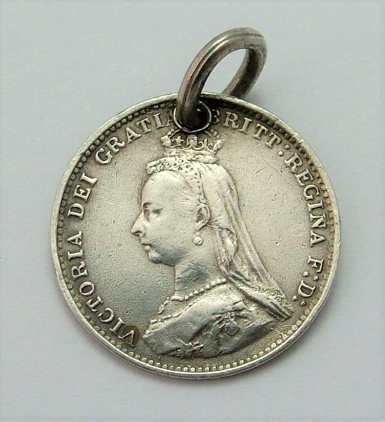 Antique Victorian Silver Engraved Love Token Coin Charm GHK Love Token - Sandy's Vintage Charms