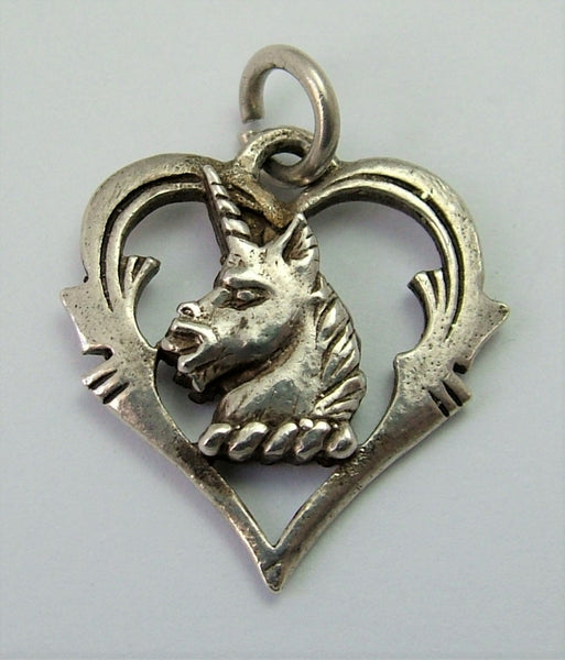 Vintage 1960's Solid Silver Heraldic Unicorn Heart Charm
