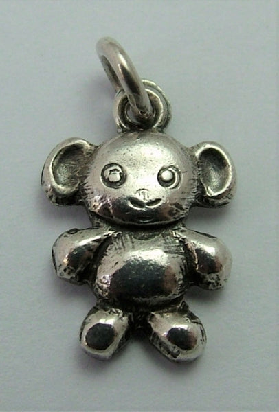 Small Vintage Swedish 1950's Solid Silver Flat Backed Teddy Bear Charm by Mic Neugel
