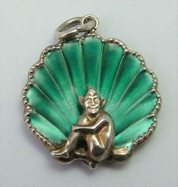Vintage 1930's-1950's Silver & Turquoise Green Enamel Pixie in a Seashell Charm