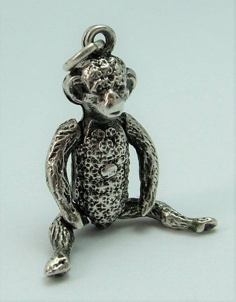 Antique Edwardian c1905 Silver Hollow Articulated Monkey Charm