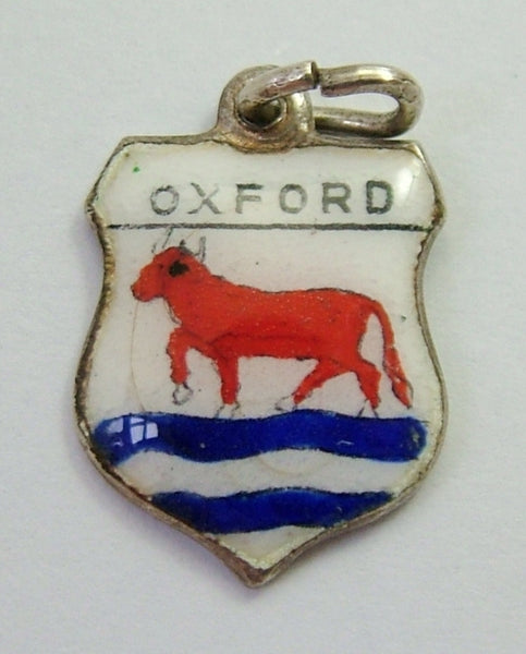 1960's Silver & Enamel Shield Charm for OXFORD Shield Charm - Sandy's Vintage Charms