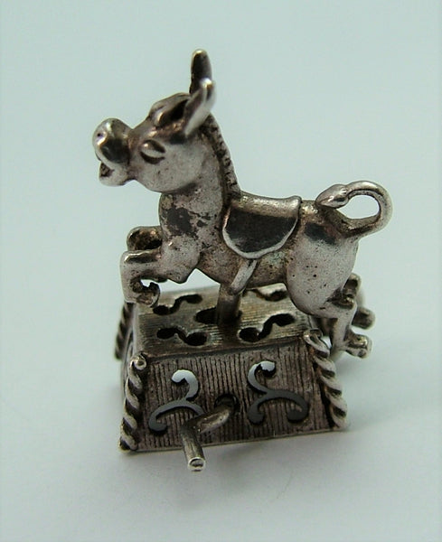 Vintage 1970's Silver Nuvo Donkey Ride on Machine Charm Moves Back & Forth