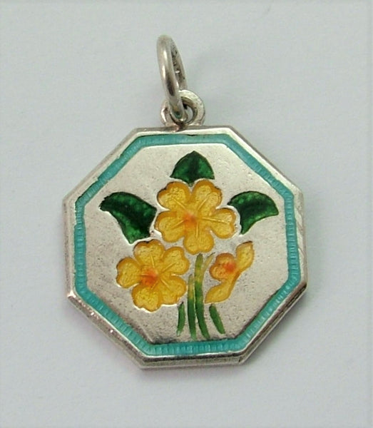 Vintage 1960's Silver & Enamel TLM 'Flower of the Month' Charm PRIMROSE