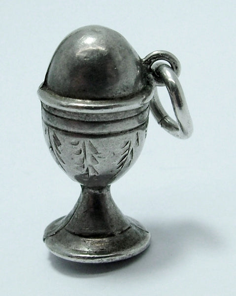Antique Victorian Silver Puffed Egg in an Eggcup Charm HM 1897 Antique Charm - Sandy's Vintage Charms