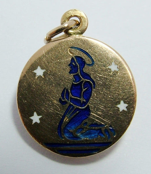 Small 1960's 18k 18ct Gold & Enamel Praying Figure Charm with Stars Gold Charm - Sandy's Vintage Charms