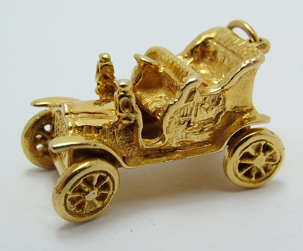 Large 1960's 9ct Gold Vintage Car Charm Moving Wheels Gold Charm - Sandy's Vintage Charms