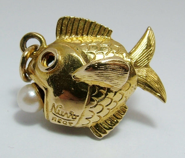 1960's 9ct Gold Nuvo Fish Charm with Pearl in Mouth and Moving Tail Gold Charm - Sandy's Vintage Charms