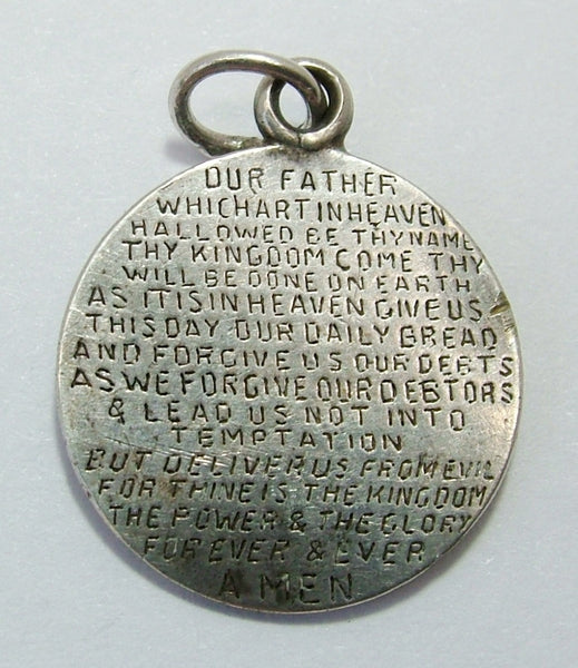 Antique Victorian Silver Love Token Coin Charm Engraved with The Lord's Prayer Love Token - Sandy's Vintage Charms
