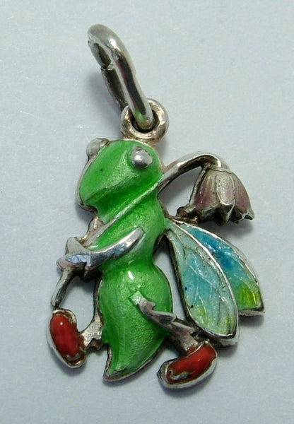 1950's Silver & Enamel Grasshopper Charm Carrying a Flower Enamel Charm - Sandy's Vintage Charms