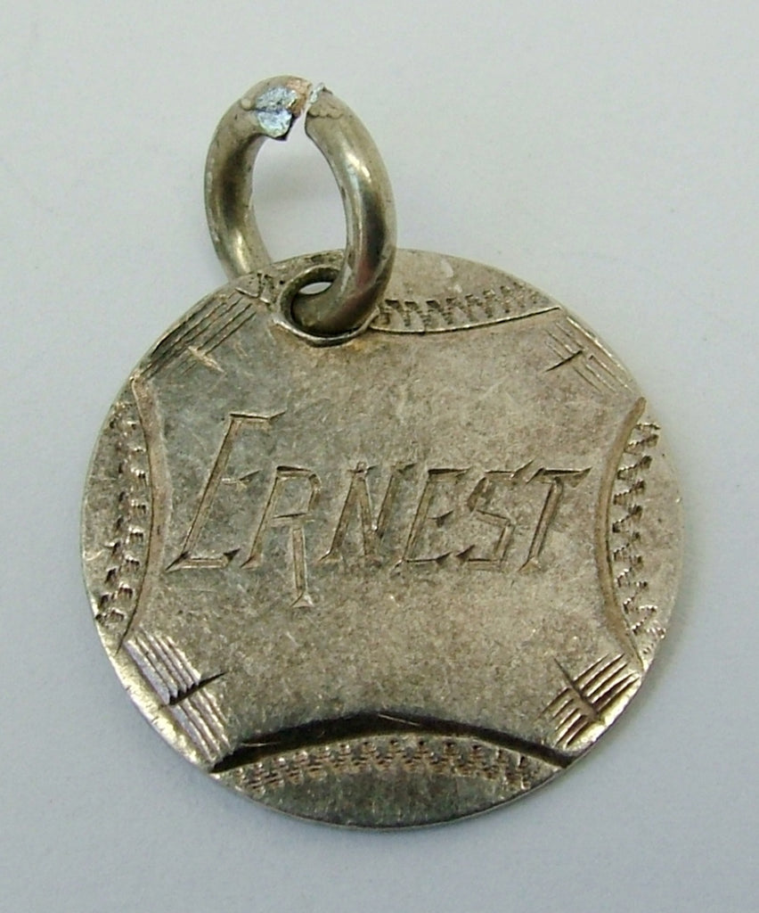 Antique Victorian Silver Engraved Love Token Coin Charm ERNEST Love Token - Sandy's Vintage Charms