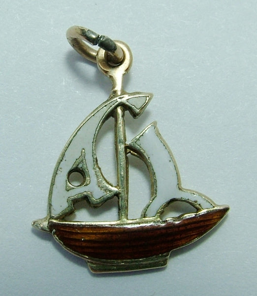 1930's 9ct Gold & Enamel Sailing Yacht Charm Enamel Charm - Sandy's Vintage Charms