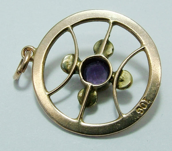 Antique Edwardian 9ct Rose Gold, Amethyst & Seed Pearl Art Nouveau Charm Pendant Antique Charm - Sandy's Vintage Charms