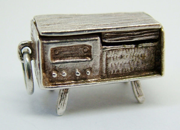 1960's Silver Opening Music Cabinet Charm Record Player Inside Silver Charm - Sandy's Vintage Charms