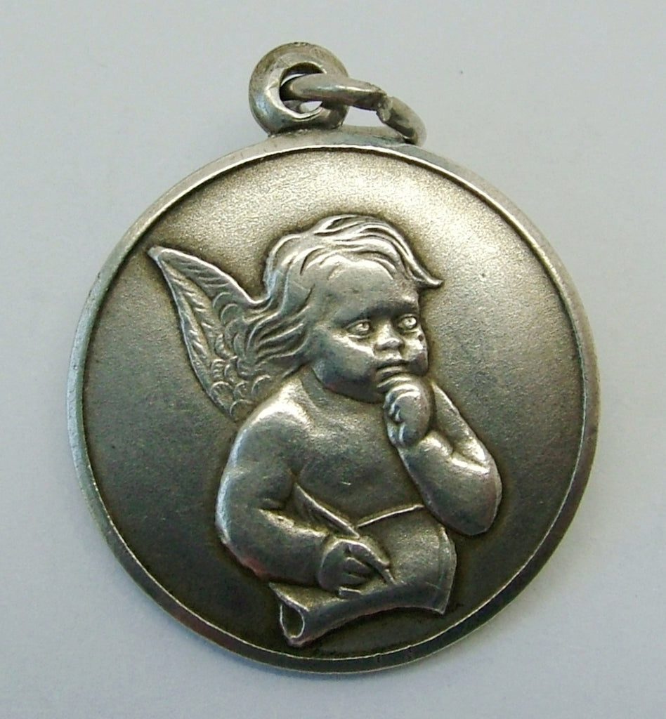 Vintage 1970's Solid Silver Disc Charm Cherub Writing with Quill Silver Charm - Sandy's Vintage Charms