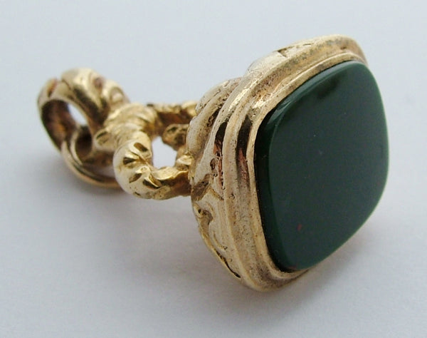 1970's 9ct Gold Fob Seal Charm With Bloodstone Matrix Gold Charm - Sandy's Vintage Charms