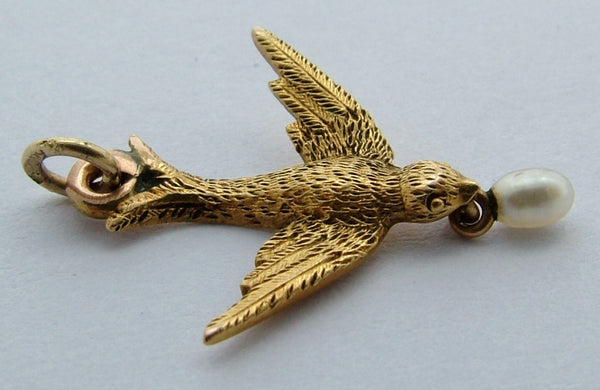 Antique Victorian c1880's 18ct Gold & Pearl Swallow Bird Charm Antique Charm - Sandy's Vintage Charms
