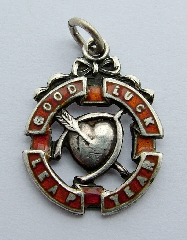 "Antique Edwardian Silver & Red Enamel ""Good Luck Leap Year"" Charm Antique Charm - Sandy's Vintage Charms"