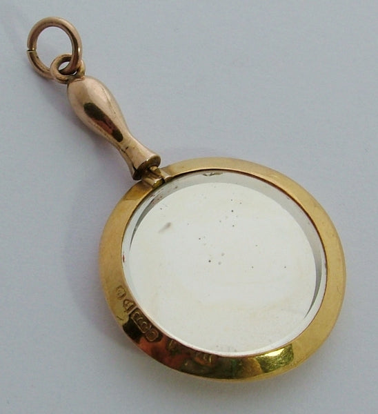 Antique Edwardian 9ct Gold Miniature Hand Mirror Charm or Pendant HM 1904 Antique Charm - Sandy's Vintage Charms