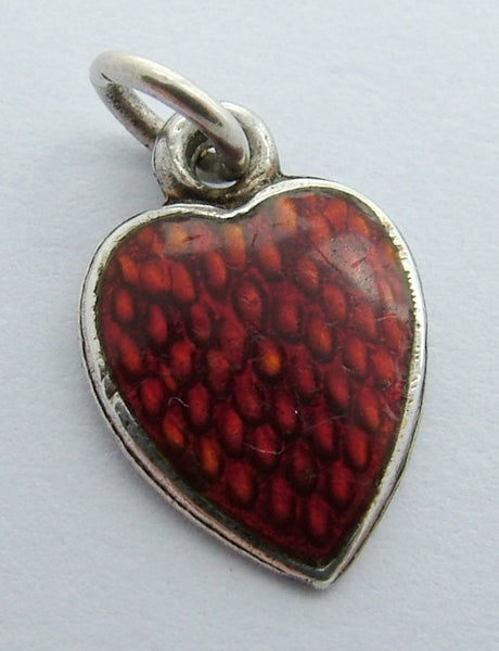 Small Antique Edwardian Silver & Red Guilloche Enamel Heart Charm Enamel Charm - Sandy's Vintage Charms