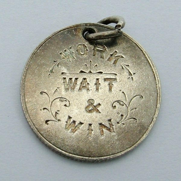 "Antique Victorian Silver Engraved Love Token Coin Charm ""WORK, WAIT & WIN"" Love Token - Sandy's Vintage Charms"