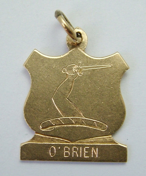 1970's Solid 9ct Gold Shield Charm Engraved with Crest for O'BRIEN Gold Charm - Sandy's Vintage Charms