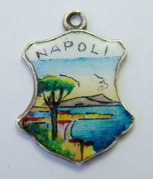 1950's/1960's Silver & Enamel Shield Charm for NAPOLI in Italy Shield Charm - Sandy's Vintage Charms