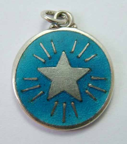 Antique 1914 Silver & Turquoise Enamel Lucky Star Charm Antique Charm - Sandy's Vintage Charms