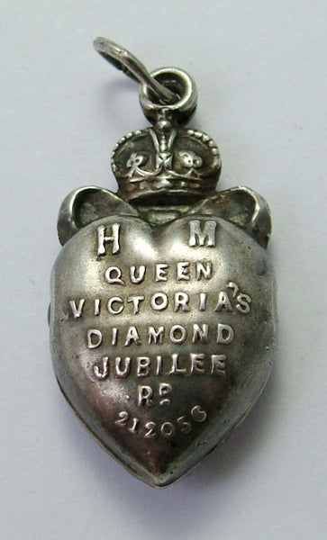 Antique Victorian Silver Puffy Heart Charm Diamond Jubilee Souvenir with Stanhope Antique Charm - Sandy's Vintage Charms