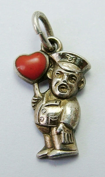 Small Vintage 1950's Silver Lollipop Man Charm with Red Enamel Heart Enamel Charm - Sandy's Vintage Charms