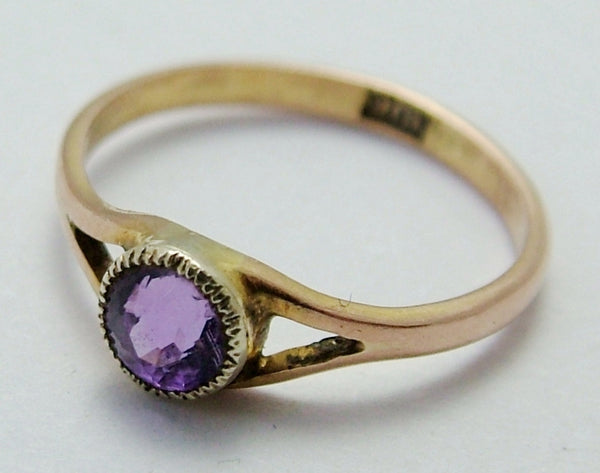 Tiny Antique Edwardian 9ct Rose Gold Amethyst Set Baby Ring - Charm or Pendant Antique Charm - Sandy's Vintage Charms