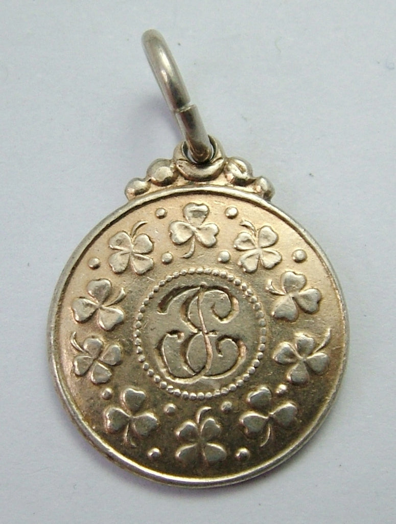 Vintage 1920's/30's Scandinavian Silver Gilt Charm with Lord's Prayer & Clovers 1920s-1950s Charm - Sandy's Vintage Charms