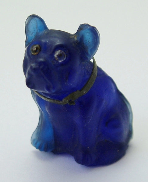 Antique c1910-1920's Dark Blue Frosted Czech Glass French Bulldog Charm Antique Charm - Sandy's Vintage Charms