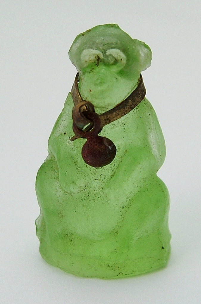 Antique c1910-1920's Green Frosted Czech Glass Monkey Charm Antique Charm - Sandy's Vintage Charms