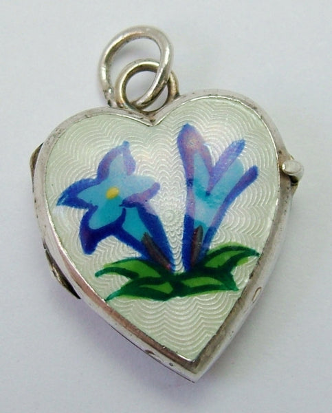 Vintage 1960's Silver & Guilloche Enamel Heart Locket Charm with Gentian Flowers Enamel Charm - Sandy's Vintage Charms