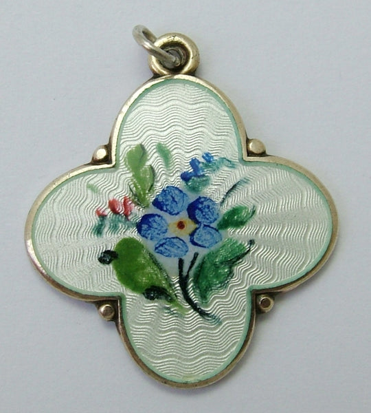 1950's Silver Gilt & Enamel David Andersen Forget me Not Flower Charm Enamel Charm - Sandy's Vintage Charms