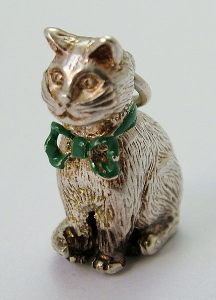 1970's Silver Sitting Cat Charm with Green Enamel Bow HM 1979 Silver Charm - Sandy's Vintage Charms