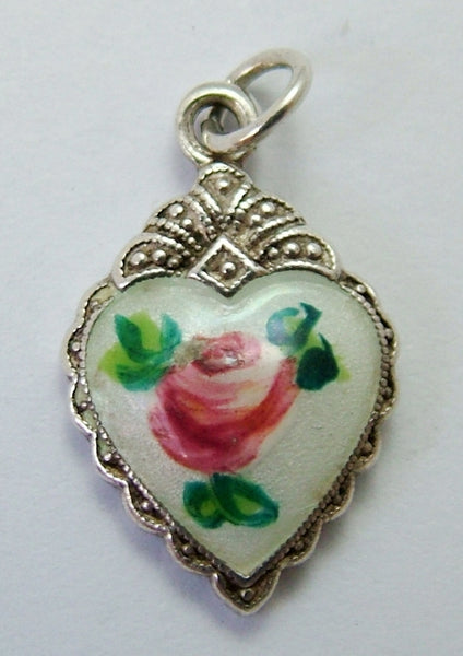 1950's Silver & Enamel Heart Charm with Pink Rose Enamel Charm - Sandy's Vintage Charms