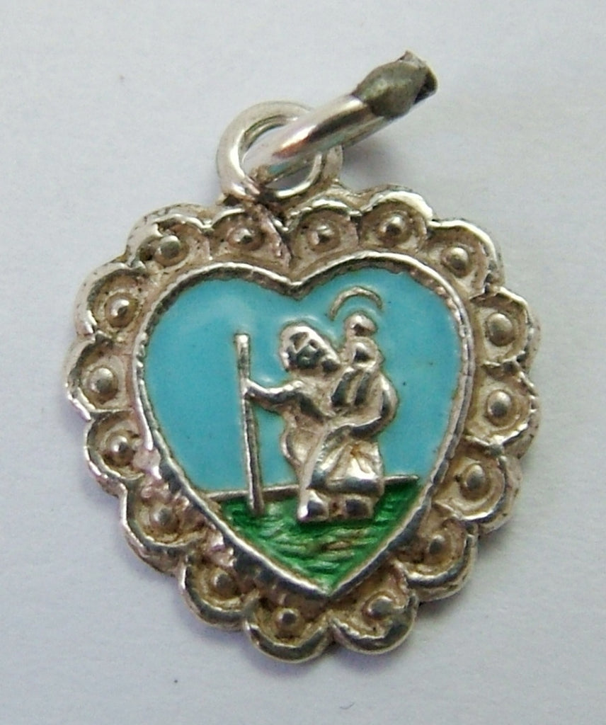 Small Vintage 1970's Silver & Enamel Heart Shaped St Christopher Charm Enamel Charm - Sandy's Vintage Charms