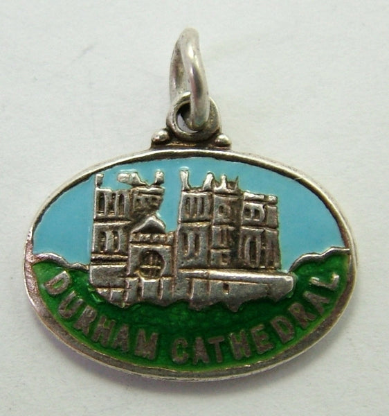1960's Silver & Enamel Souvenir Charm for DURHAM CATHEDRAL Shield Charm - Sandy's Vintage Charms