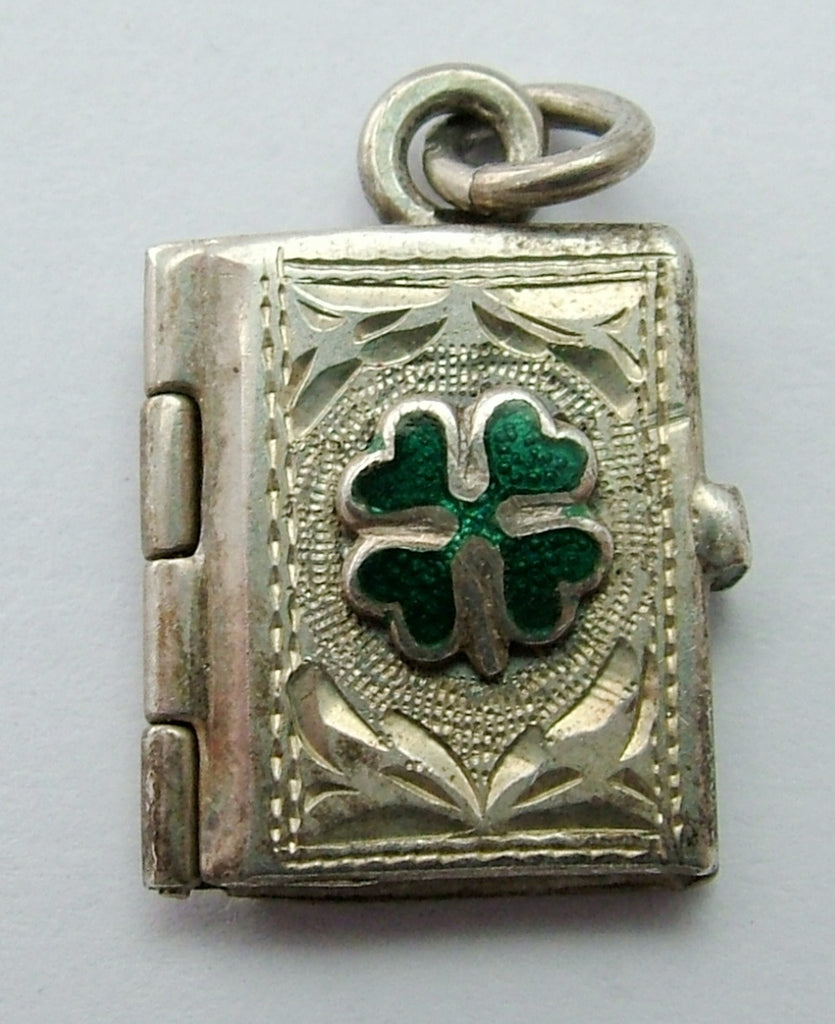 Vintage 1950's Silver Book Locket Charm with Green Enamel Four Leaf Clover Enamel Charm - Sandy's Vintage Charms