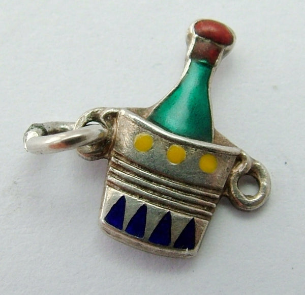 Small 1950's Silver & Enamel Champagne Bottle in an Ice Bucket Charm Enamel Charm - Sandy's Vintage Charms
