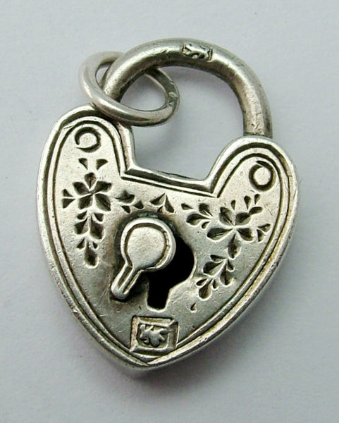 Antique Victorian Puffed Silver Padlock Charm HM 1895 Antique Charm - Sandy's Vintage Charms